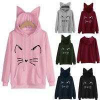 Ladies Womens Cat Ear Hoodie Sweatshirt Hooded Sweater Coat Jumper Pullover Tops
