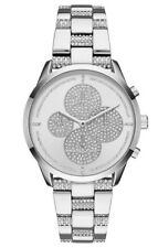 NWT Michael Kors MK6552 Slater Crystals Silver Steel Chronograph 42mm Watch