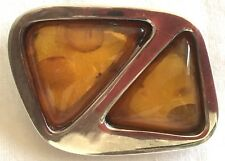 Vintage Sterling Amber Brooch Pin Modernist Insect Inclusion 22Gr Boxed Poland