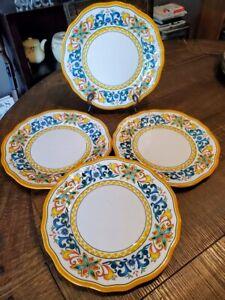 Pier 1 Melamine Carmelo Yellow Cortona Dinner Plates x 4