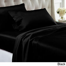 Black Silk Comfort Polyester Satin Sheet Set King Size Flat Fitted Pillows New