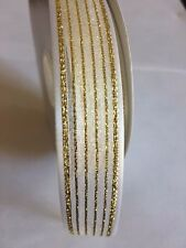 Wedding Gift Wrapping Ribbon Organza with Satin Edge White/Gold, 7/8""