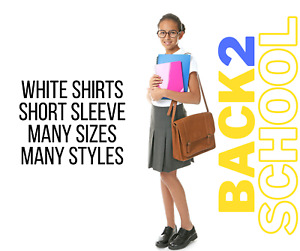 Girls M*S Blouse Shirts School Uniform White Short Sleeves All Sizes Many Styles