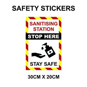 Wall decals stickers 2m social distancing Sanitising Wash hands, shops