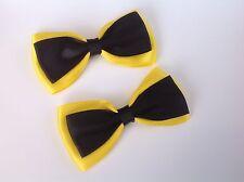 Emma Wiggle Hair Bow Clip -  Handmade Yellow & Black Hair Bow Clip *new*