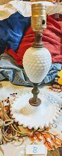 Milk Glass Fenton Table Lamp White Hobnail Works - Antique