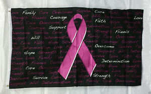 PINK RIBBON ON BLACK FLAG 3'x5' BREAST CANCER AWARENESS SUPPORT FREE SHIP NBCAM