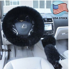 Black Long Furry Steering Wheel Cover Shifter Cover and Parking Brake Cover