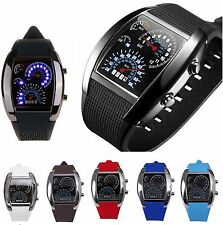 New Fashion Men's Sport Blue LED Digital Rubber Quartz Cool Steel Wrist Watches