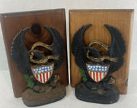 VINTAGE ANTIQUE CAST IRON FEDERAL USA AMERICAN EAGLE BOOKENDS #665 READ