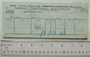 1900 Great Central Railway Parcels way bill Nottingham (Joint) to Woodhouse