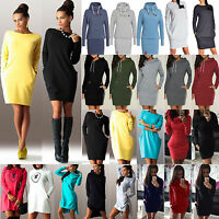 Womens Winter Long Sleeve Hoodies Mini Dress Bodycon Sweater Tops Casual Outwear