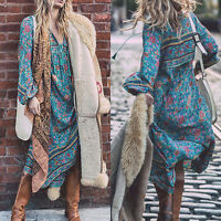 Women's Long Floral Beach Boho Gypsy Long Sundress Casual Maxi Dress Plus S~2XL