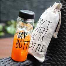 Fashion Portable Clear My Bottle Sport Plastic Fruit Juice Water Cup 500ML + Bag
