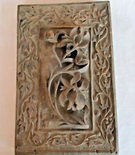 Antique Old Beautiful Flower Design Engraved & Embossed Wooden Lid/Panel India