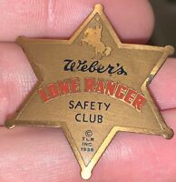 Antique Vintage Weber's Bread Advertising Lone Ranger Safety Club Badge Pin 1938