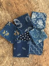 34 Vintage Antique Quilt Blocks Blue Indigo Cotton Fabric 1800's era Square 2