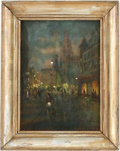 City at Night Antique Oil Painting by Antal Berkes (Hungarian, 1874–1938)