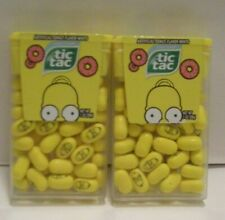 (2) NEW Homer Simpson TIC TAC Limited Edition donut flavored mints  DISCONTINUED