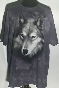 Wolves Wild Animal 2002 The Mountain 3XL XXXL Short Sleeve Blue Tie-Dyed T-shirt