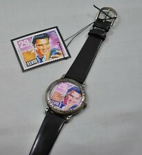 NIB Elvis Commemorative Watch Replica of USPS Elvis Stamp Round Face Silver
