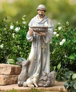 "St Francis of Assisi Statue Religious Garden Lawn Ceramic Figurine Sculpture 14"""