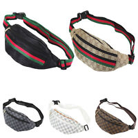 .Bum Bag Fanny Pack Travel Waist Festival Money Belt Leather Pouch Holiday Check