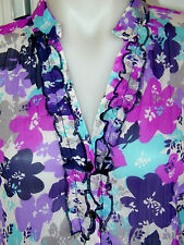 NWOT Ladies lightweight crinkle fabric ruffle feature to neck line size 20