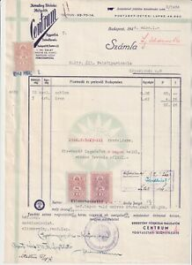 1944, Hungary, perfin, document with three revenue stamps