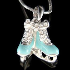 Blue Ice Skating Figure Skates made with Swarovski Crystal Shoes Hockey Necklace