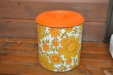 LARGE VINTAGE RETRO WILLOW BRAND ORANGE FLORAL CANISTER BREAD BIN Storage SYDNEY