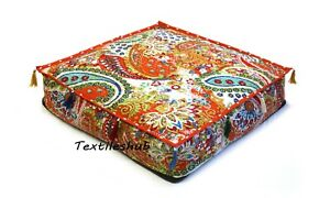 """Indian Orange Square Paisley Cushion Covers Floor Pillow 24x4"""" Cushion Covers UK"""