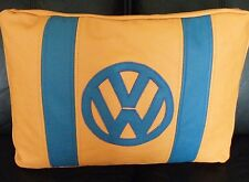 Real Leather collarín Cojín Almohada Naranja y Azul Logotipo VW