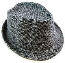 Cotton Fedora Hat Cap trilby Mens BLACK stripe Womens Unisex fashion style NEW