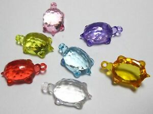 "50 Mixed Colour Transparent Acrylic Turtle Charms Pendants 24mm(0.95"") Craft DIY"