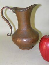 Antique Primitive Arts & Crafts Hammered Hand Raised Copper Pitcher