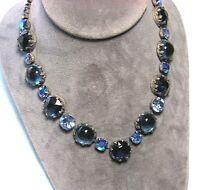 "REGENCY Necklace w Iridescent Blue Glass Sets 16"" long"