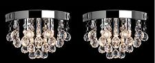 2x Jewel Chandelier Round Ceiling Light Fitting Cascading Clear Crystal Pendant