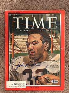 Jim Brown Cleveland Browns 1965 Time Magazine BAS COA Beckett