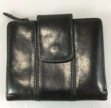 Mundi Italian Calfskin Black Leather Small Billfold Wallet Coin Purse