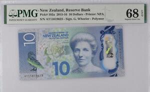 New Zealand 10 Dollars 2015 Polymer P 192 a Superb Gem UNC PMG 68 EPQ NR