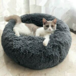 Donut Plush Pet Soft Cat Warm Bed Sleeping Bed Fluffy Calming Dog Nest Kennel