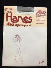 Hanes Alive Light Support Pantyhose Clear Grey Size Plus E Style 813 Vtg 1983