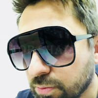 Oversized Fashion Big Large One Pieces Flat Top  Men Women New Style Sunglasses