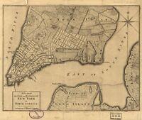 A4 Ristampa Di Americana Città Paesi Stati Mappa di New York