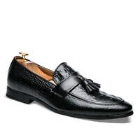 Men Formal Business Dress Shoes Modern Tassels Pointed Toe Shoes Slip On Loafers