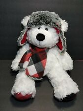 "Hugfun Intl White Furry Bear Plaid Fleece Ear Flap Hat Scarf & Paws 18"" Plush🐻"