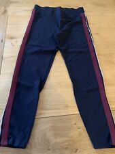 Ladies M&S Leggings Size 14 Navy With Side Stripes