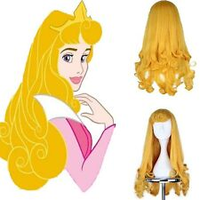 Sleeping Beauty Princess Aurora Cosplay Prop Wig Blonde Synthetic Hair 70cm Long