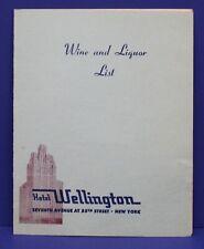Vintage Menu Room Service Wine & Liquor List Hotel Wellington NYC 1940s/ 1950s